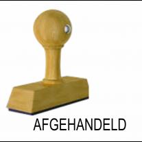 Houten handstempel AFGEHANDELD