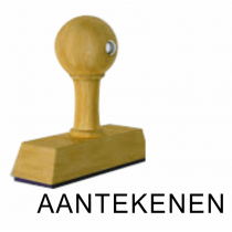 Houten handstempel AANTEKENEN