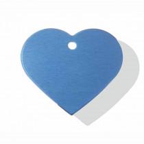 Hart GROOT blauw | 2 zijden graveren | 38x32 mm