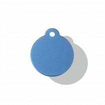 Hondenpenning Rond met lus blauw   2 zijden graveren   Ø 27 mm