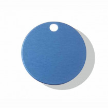 Hondenpenning Rond met gat groot blauw | 2 zijden graveren | Ø 32 mm