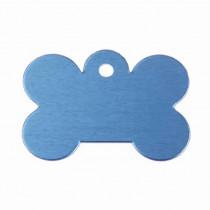 Hondenpenning Bot GROOT blauw | 1 zijde graveren | 40x28 mm