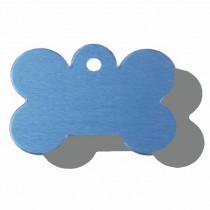 Hondenpenning Bot GROOT blauw | 2 zijden graveren | 40x28 mm