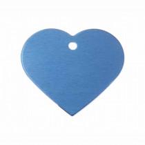 Hart GROOT blauw | 1 zijde graveren | 38x32 mm