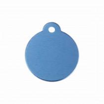 Hondenpenning Rond met lus blauw   1 zijde graveren   Ø 27 mm