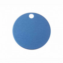 Hondenpenning Rond met gat groot blauw | 1 zijde graveren | Ø 32 mm