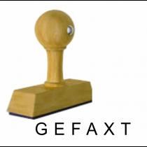 Houten handstempel GEFAXT