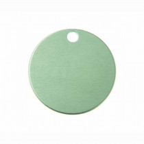 Hondenpenning Rond met gat klein groen | 1 zijde graveren | Ø 25 mm