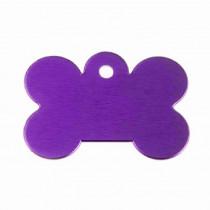Hondenpenning Bot GROOT paars | 1 zijde graveren | 40x28 mm