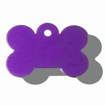 Hondenpenning Bot GROOT paars | 2 zijden graveren | 40x28 mm
