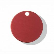 Hondenpenning Rond met gat klein rood | 2 zijden graveren | Ø 25 mm