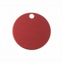 Hondenpenning Rond met gat klein rood | 1 zijde graveren | Ø 25 mm