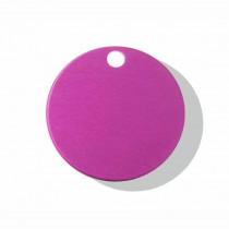 Hondenpenning Rond met gat klein roze | 2 zijden graveren | Ø 25 mm