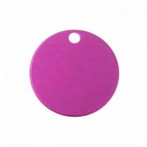 Hondenpenning Rond met gat klein roze | 1 zijde graveren | Ø 25 mm