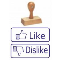 set van 2 houten handstempelset Like en Dislike