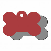 Hondenpenning Bot KLEIN rood | 2 zijden graveren | 31x21 mm