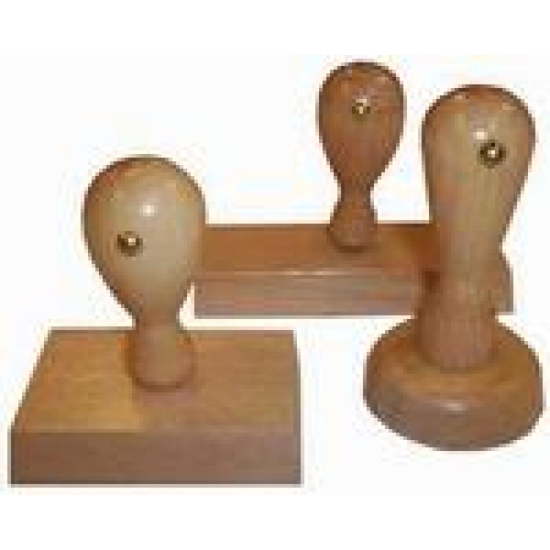 Houten douane handstempel 30 x 15 mm